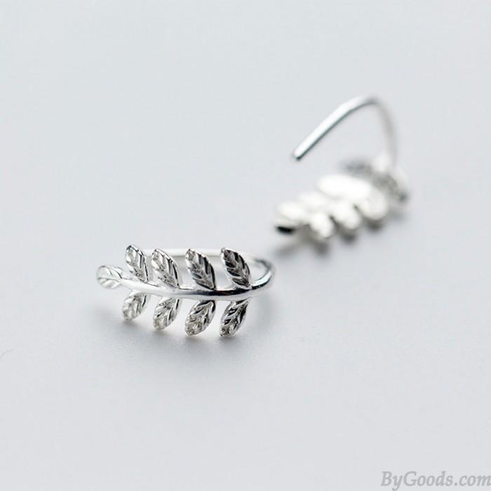 Sweet Leaf Earring Cute Silver Tree Leaves Earrings Studs Gift For Girl