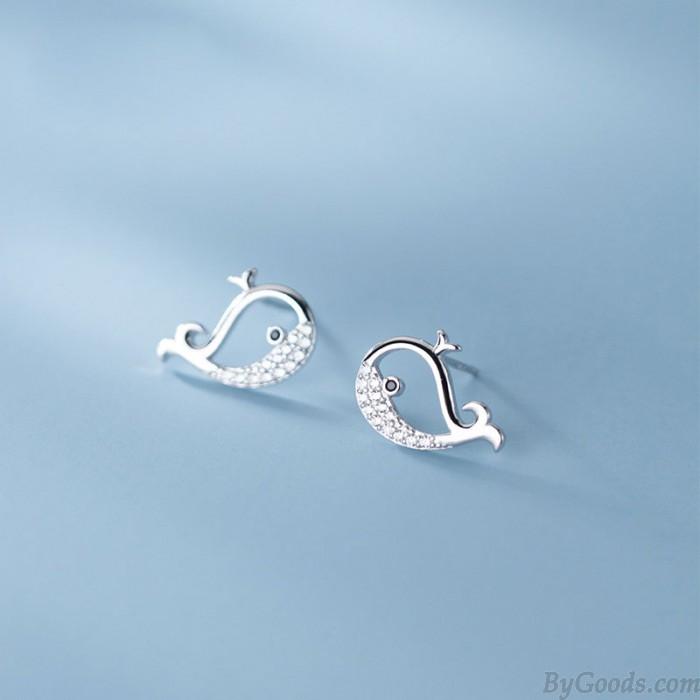 Schöne kleine Wal Diamant hohle Ohrringe Ohrstecker Fisch Tier Silber Ohrringe Ohrstecker