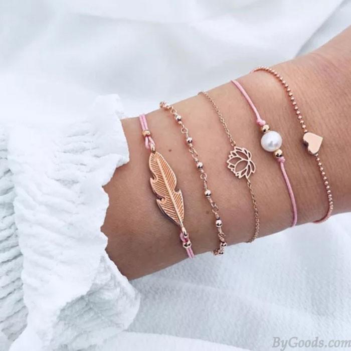 Niedliche Blätter Feder Lotus Legierung Perle Liebe Fünf Stück Set Armband
