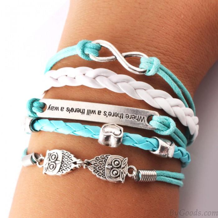 Süße Liebe Eule Unendlichkeit Armbänder