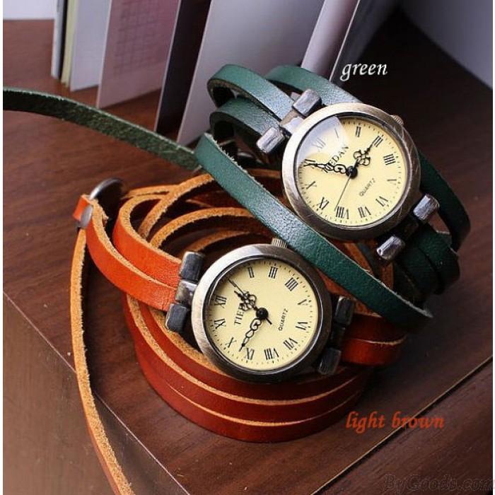 Vintage Style 5 Kreise Zifferblatt Leder Retro Uhr