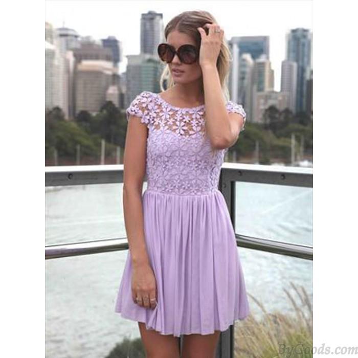 Reizvolle Ruckenfreies Stickte Spitze Stitching Chiffon Kleid Mode Kleider Bekleidung Bygoods Com