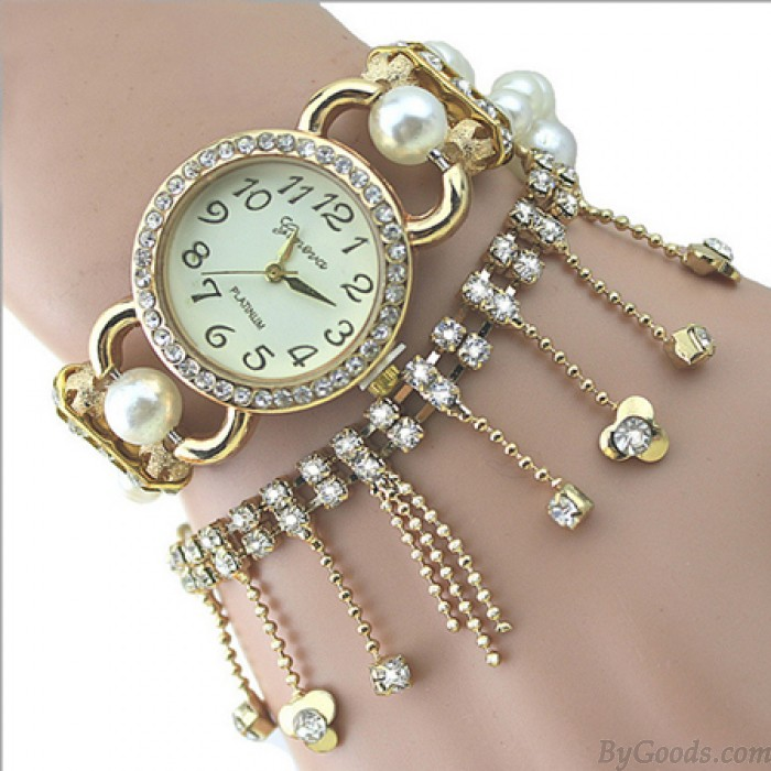 Schöne Perle Perlen Diamant Kette Quaste Armband Uhr