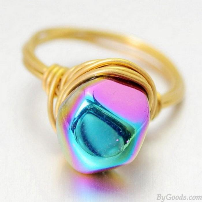 Asymmetrische Naturfarbenkristallhandaufzug Messingringe