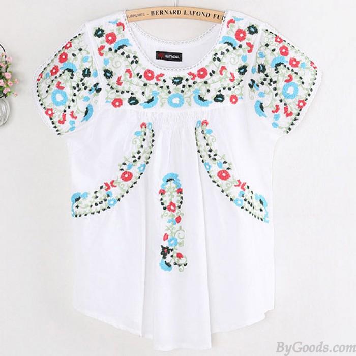 Folk-Art-bunte Blumen Stickerei Frauen kurzen Ärmeln Shirt