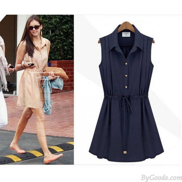 Art-und Weiseart Marineblau Des Chiffon-ärmelloses Kleid