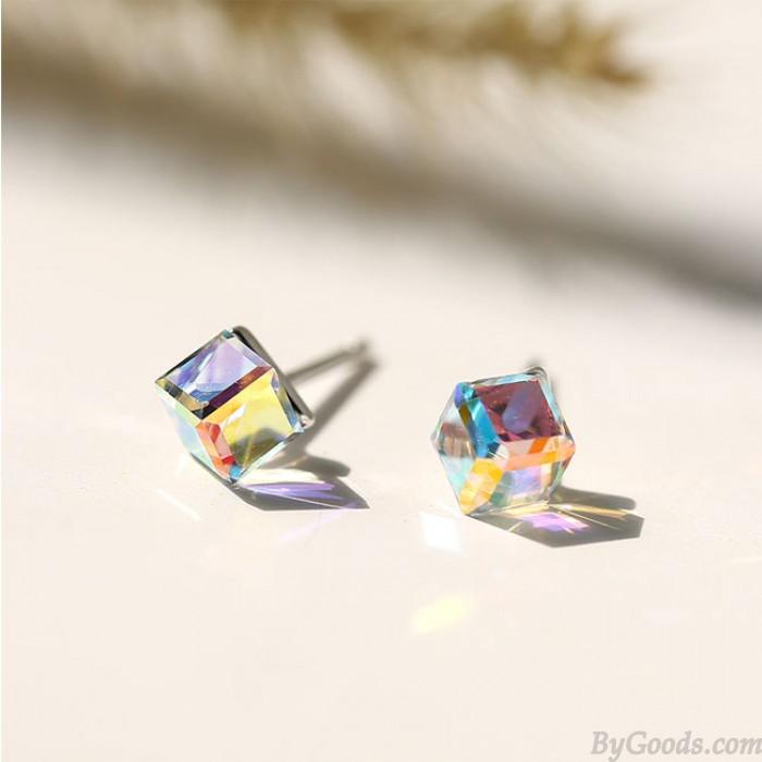 Niedliche quadratische Kristallzuckerwürfel-Silber-Frauen-Ohrringe
