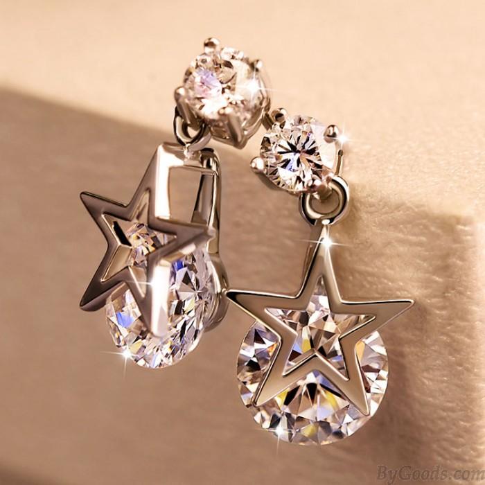 Mode Elegant Star Zirkon Ohrring