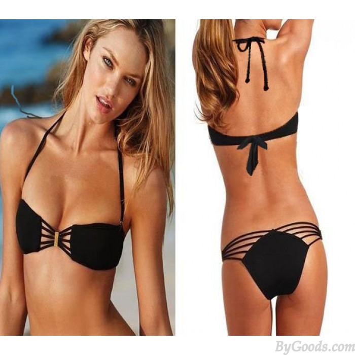 Einzigartiger geraffter Push Up Bandeau Bikini-Badeanzug