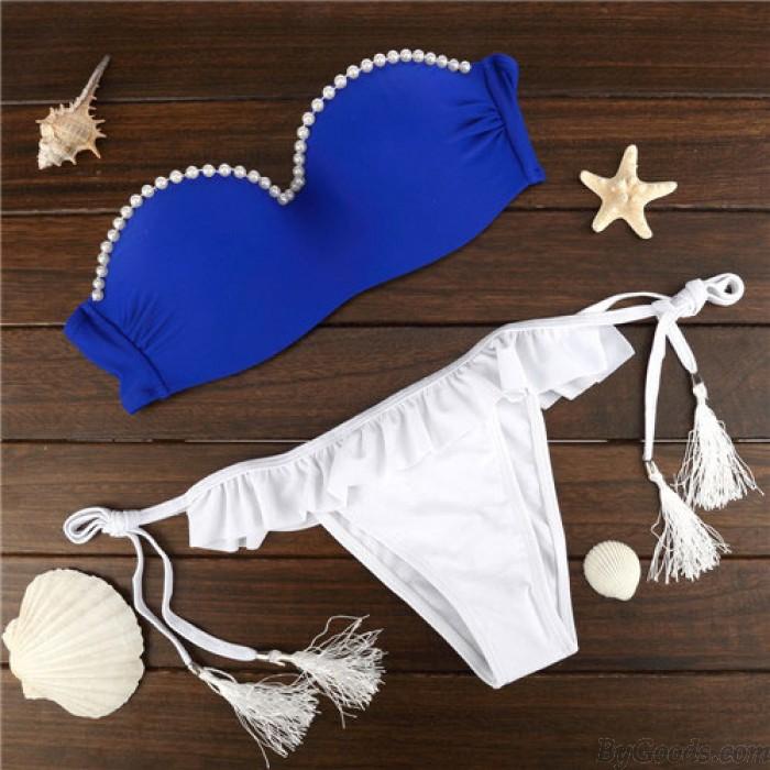 Sexy Rückenfreie Pearl Soild Fresh Bikini