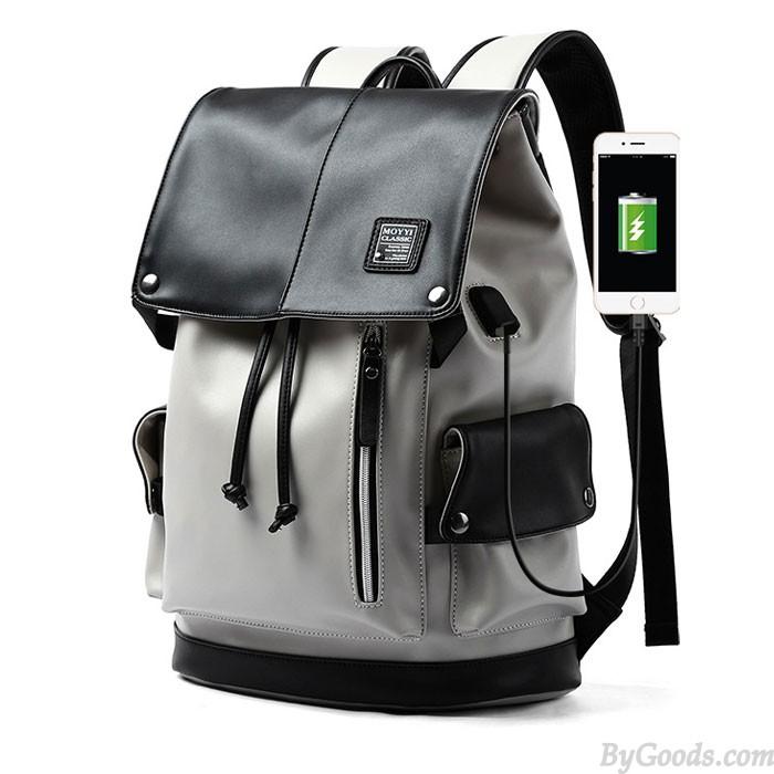 Mode Grau USB-Anschluss Große Kapazität Vertikaler Reißverschluss PU Herren Schultasche Computer Rucksack