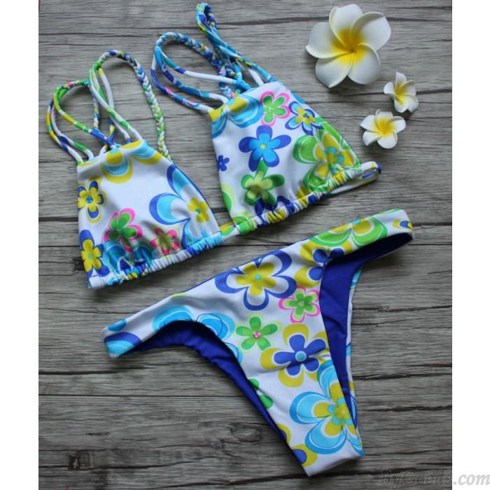 Clover Prints Doppelseitige Bikini Split Dreieck Badeanzüge Bikini Set