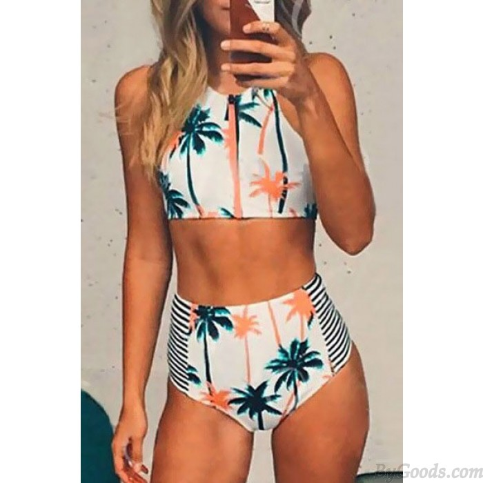Kokospalme Badeanzüge hohe Taille Streifen Bikini Druck Badeanzüge Bikini Set