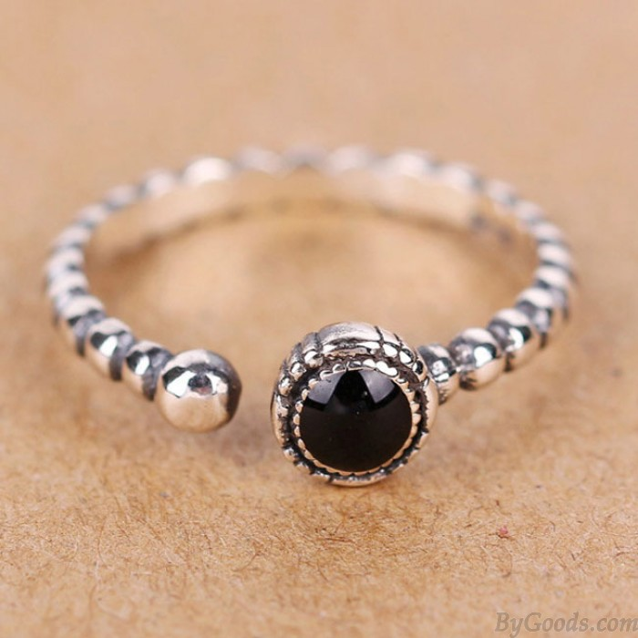 Jahrgang Twist Schwarzer Achat Verstellbarer Damen Silber Offener Ring