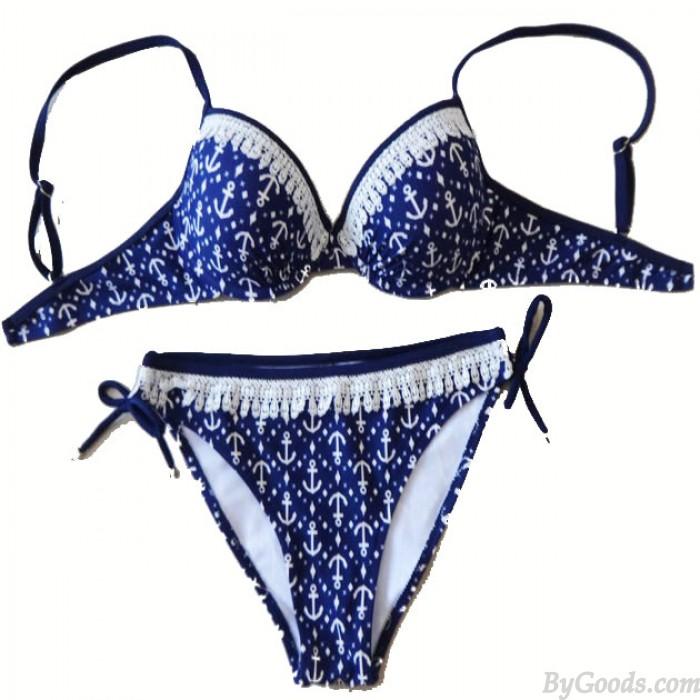 Ankerdruck Bikini Badeanzug Spitze Bademode
