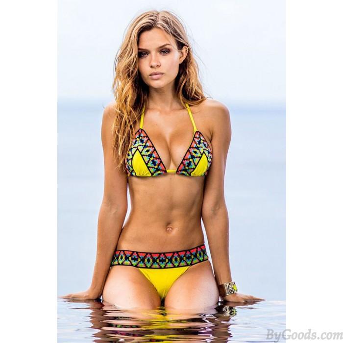 Zitrone Gelb Mosaik Bikini Geometrie Badebekleidung Badeanzug