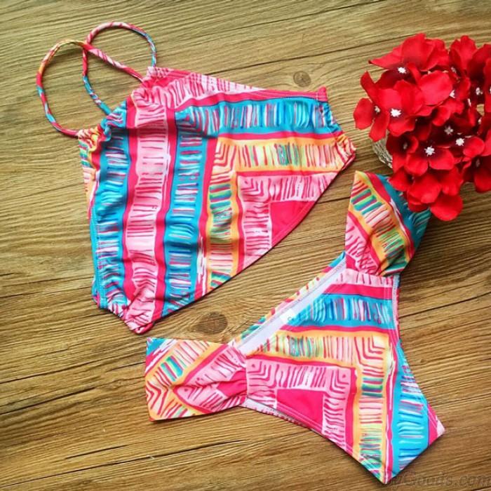 Bunte Bandage Push-up-Bikini-gesetzte Badeanzug-Damen-Bademode