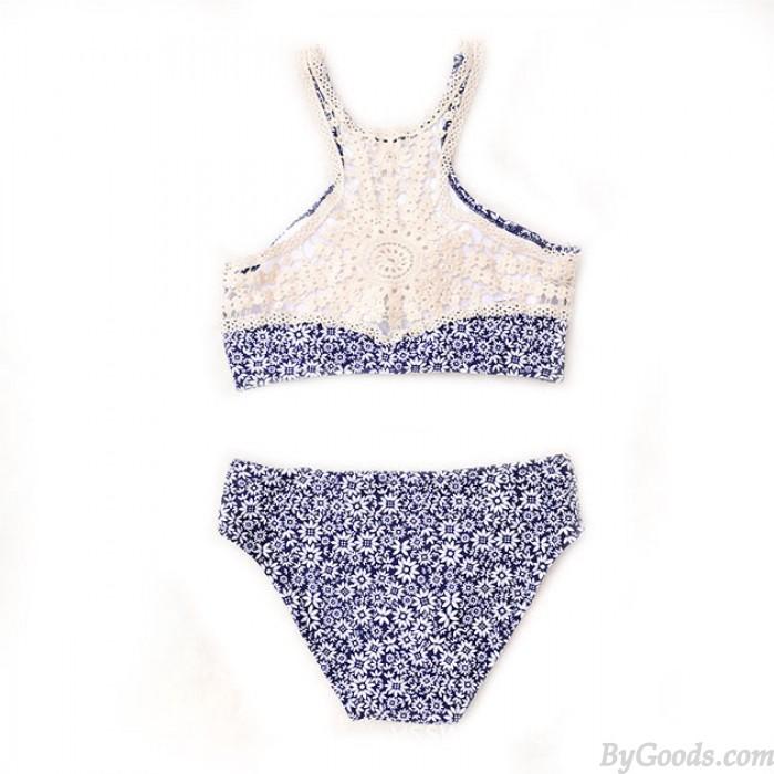 Blaue Chrysantheme Druck Bikini Set Badeanzug sportlich Bademode Badeanzug