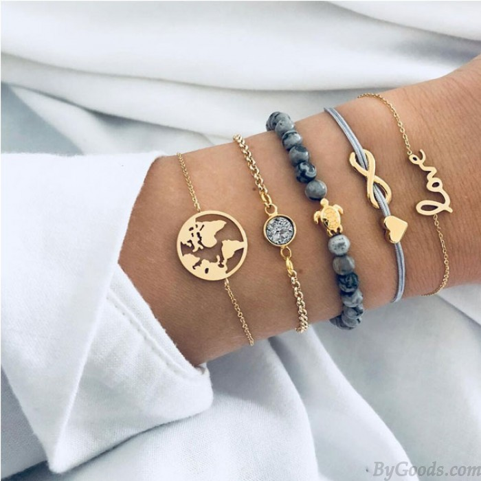 Freizeit Multi-Layer-Karte unbegrenzte Turtle Love Five Set Armband