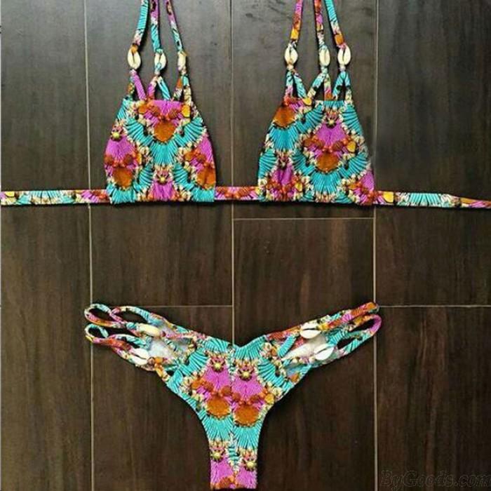 Blumen Dreieck Sexy Bandage Bikini Set Split Halter Badeanzug Bademode Badeanzug