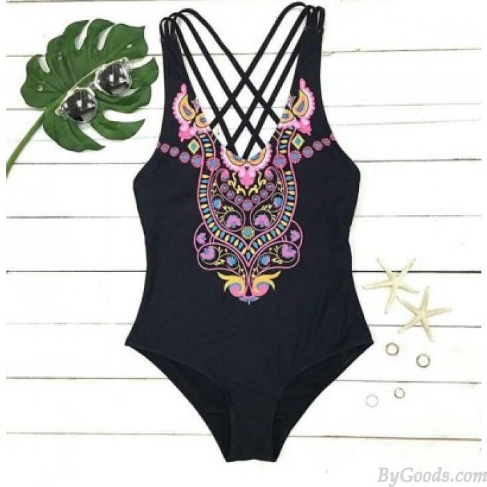 Niedlicher Eulen-Druck-Badebekleidungs-Kreuz-Bügel Bikini Einteiliger Badeanzug