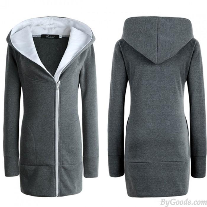 Mode frauen Winter Langen Reißverschluss Warme Hoodie Mantel Schlank Mantel Outwear Jacke Verdicken Baumwolle gefütterte Jacke Mantel