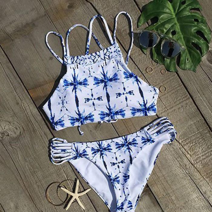 Neue Frauen Kreuz gedruckt Farbverlauf Bikini Sexy Damen Badeanzug Anzug Badebekleidung