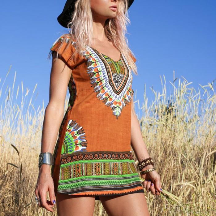 Folk Style Frauen kurzen Ärmeln V-Ausschnitt Muster Druck Ein-Schritt-Rock