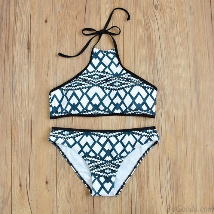 Printing Bikini Unregelmäßiges Gitter Graph Split Badeanzug