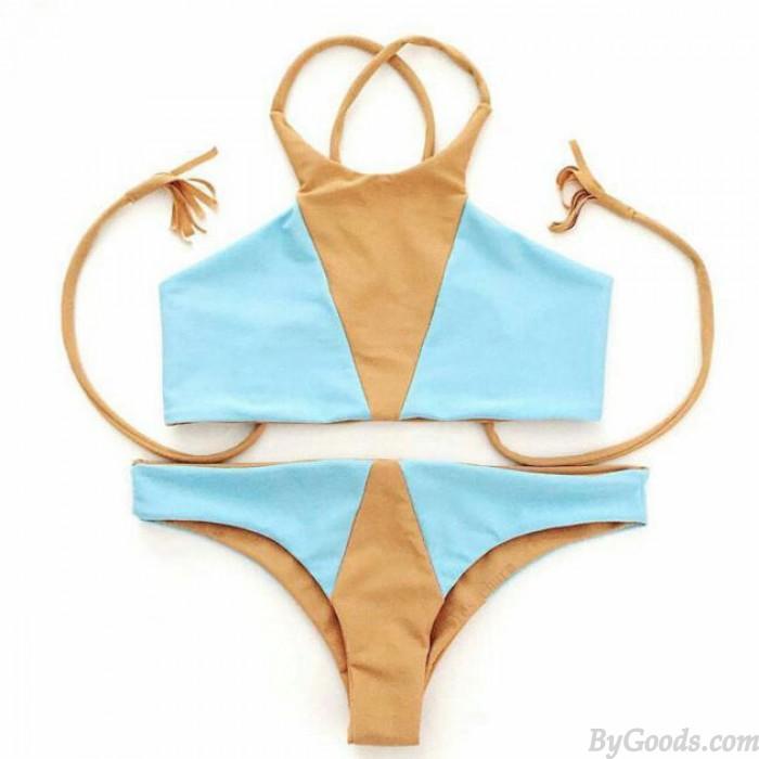 Sexy Gemischte Farbe Teilt Badeanzug Dreieck Bikini