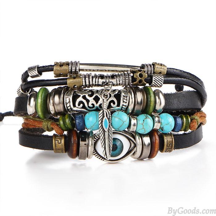 Retro blaues Auge Armbandblätter Perlen Mehrschichtiges Leder hohl geschnitzt Armreif Armband