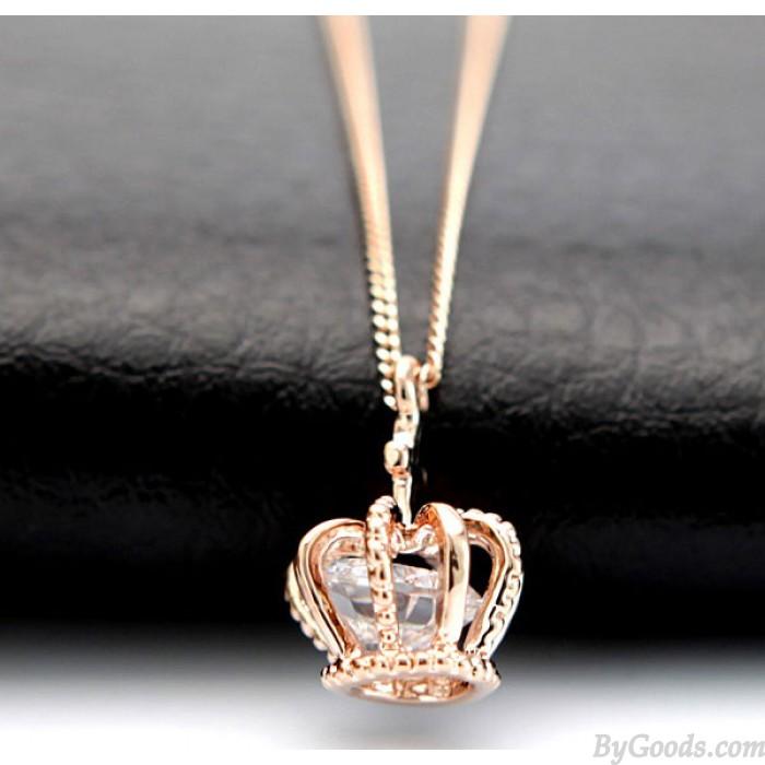 Fashion Glänzende Rose Strass Crown Halskette