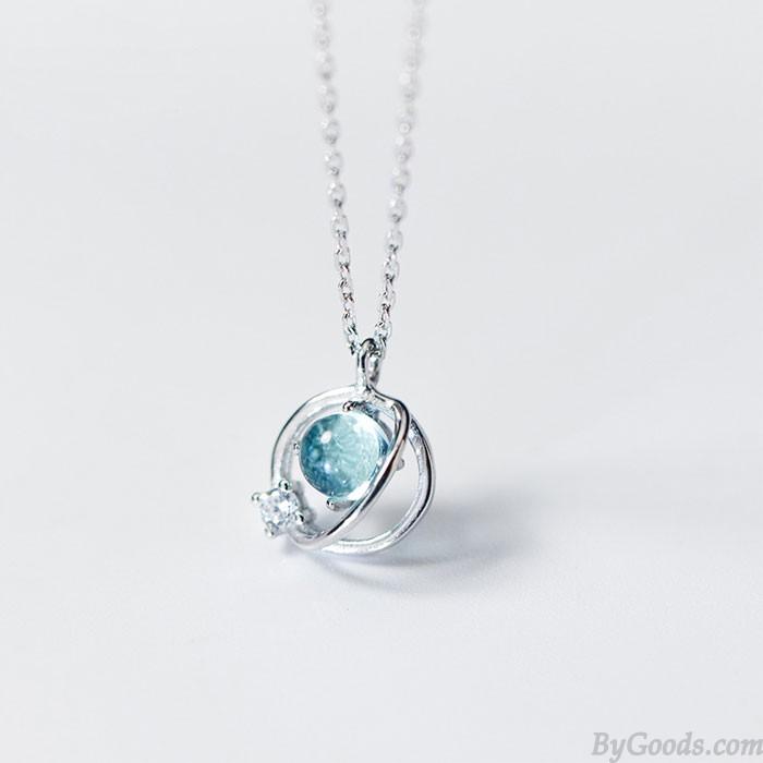 Einzigartiges Design Diamant Trend Süss Kreis Crystal Planet Anhänger Silber Halsketten