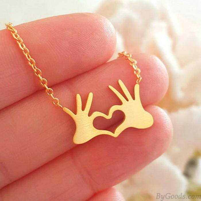 Einzigartige Palm Slap Anhänger Halskette Herz Liebe Pullover Halskette