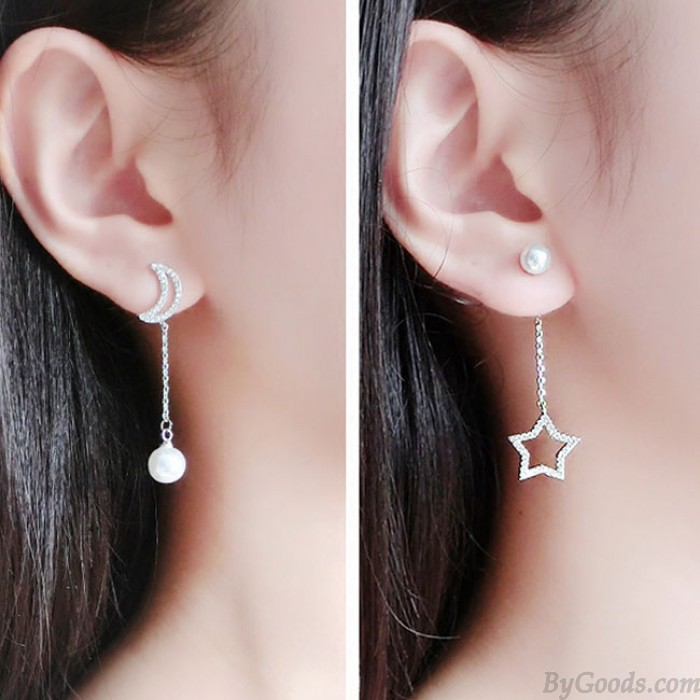 Elegant Silber Mond Sterne Eardrop asymmetrische Perle Ohrringe Stud