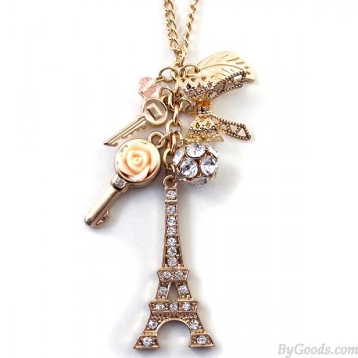 Eiffelturm Strass Keys Strickjacke-Kette Halskette