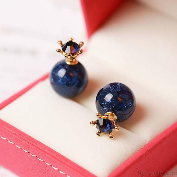 Süße tiefblaue Eiskristall Ball Crown Dual-Zweck Runde Ohrstecker