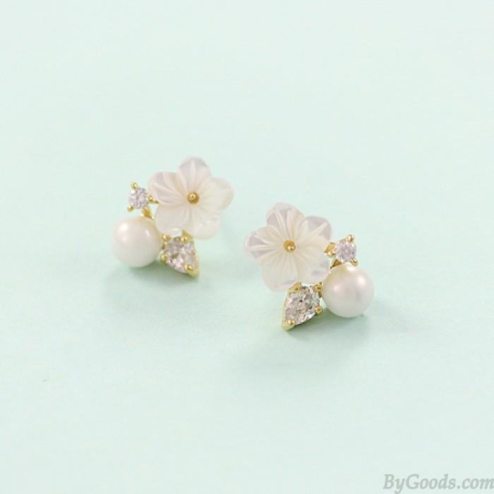 Elegante Shell perlen Pflaume förmigen 925 Silbernadel Ohrringe