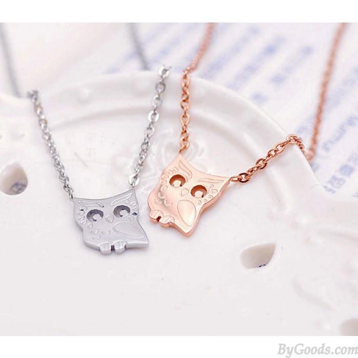 Nette Eulen-Tier-18K Gold überzogene Halskette