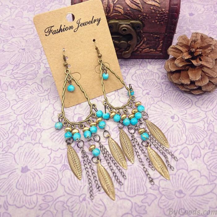 Bohemian Folk Bronze Blätter Kette Quaste Perlen Ohrringe