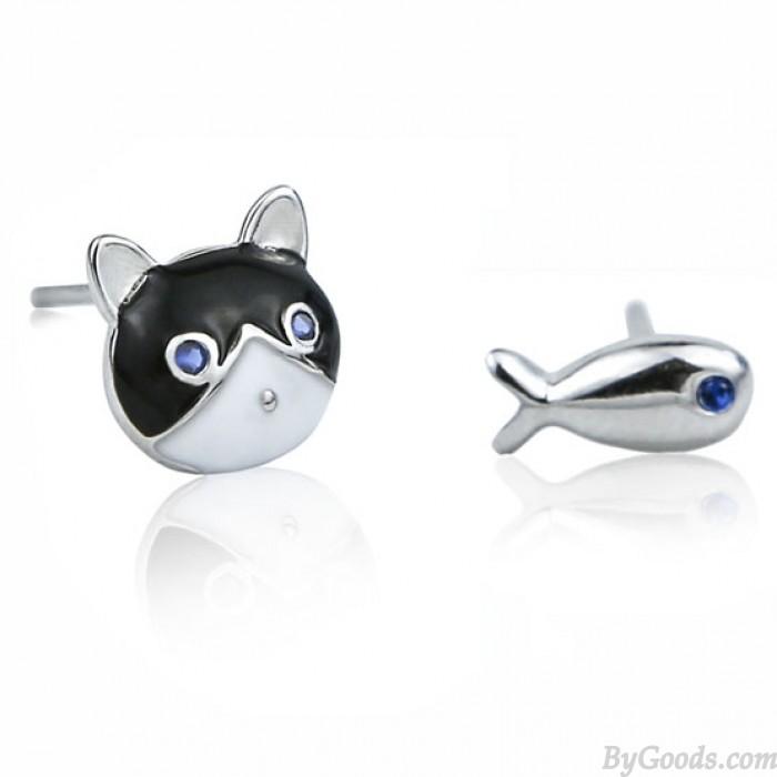 Süße verschiedene Tier Ohrringe Katze Fisch Ölfleck Glasur Silber Mädchen Ohrstecker