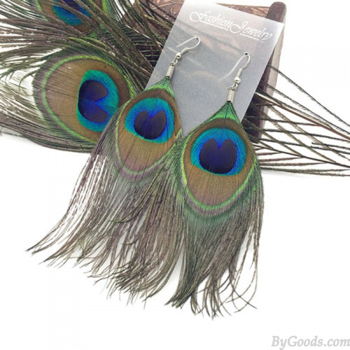 Einzigartige Original Folk natürliche Pfau-Feder-Ohrring