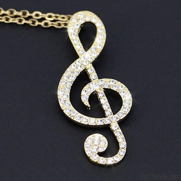 Glänzende Musik-Anmerkungen Diamond Anhänger Stilvolle Strickjacke-Halsketten