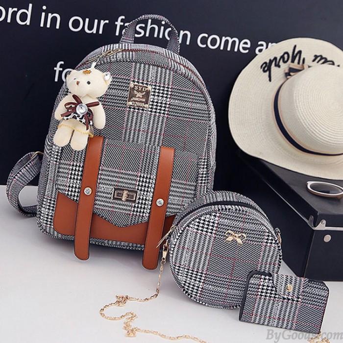 Einzigartige Linien Lingge Double Button Bag Geschenk Schultertasche Schule Dame Rucksack