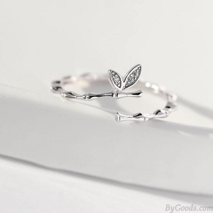 Niedliche Zweig zwei Blätter Silber Freundin Geschenk offener Ring