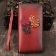 Retro Blume lange Brieftasche Rindsleder Geldbörse rot gelb geprägt Rose Unterarmtasche