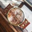 Retro Welt Karte Leder Uhr