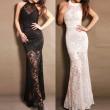 Neue Spitze Halfter lange Partei-Kleid-Abend-Kleid