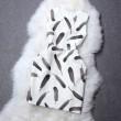 Einzigartige Feder Druck Round Kragen Kürbis Kleid