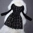 Spitze lange Hülse groß  Rundhalsausschnitt Kleid